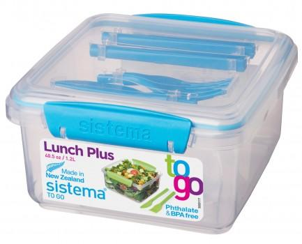Sistema Lunch Tub to go med bestik blå