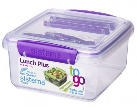 Sistema Lunch Tub to go med bestik lilla