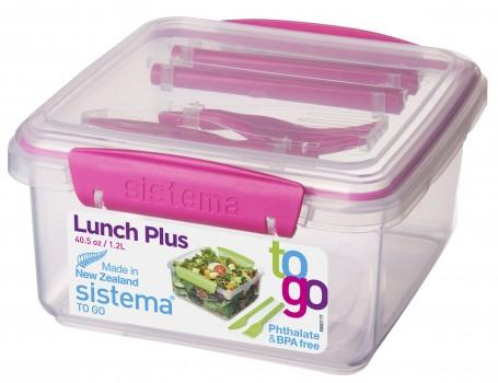Sistema Lunch Tub to go med bestik pink