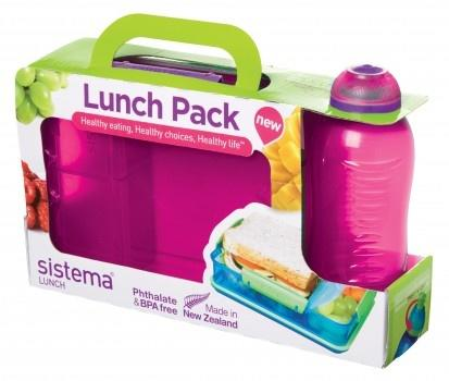 Sistema madkassesæt Snack Attack Duo and Bottle Lunch  Pink