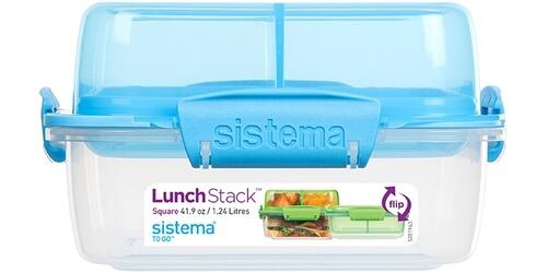 Sistema Lunch Stack Square 1,24 l klar - blå