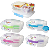 Sistema Triple Split Lunch Inkl. Yogurt Bæger Klar Plast M .farvet Clips
