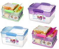 Sistema Lunch Tub To Go Klar Plast Med Farvet Clips