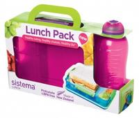Sistema  madkasse sæt Snack Attack Duo and Bottle Lunch Pink